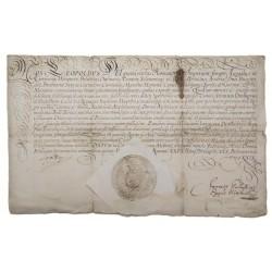 I. Lipót (1641-1705) német-római császár és magyar király saját kezű aláírásával ellátott, latin nyelvű oklevele.