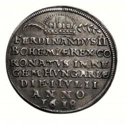 II. Ferdinánd koronázási zseton 1618 Pozsony