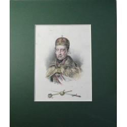 V. Ferdinánd portréja a magyar koronázási jelvényekkel 1835 körül