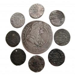 I. Lipót duarius(8db) és XV Krajcár(1db)