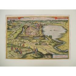 Pápa látképe 1617 Hogenberg/Houfnagel